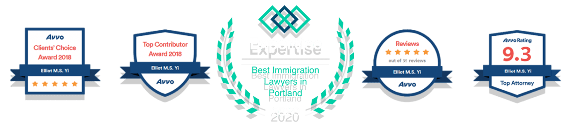 2018 2019 2020 Avvo and Expertise badges for Top Immigration Attorney